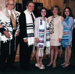 Debby Hennenberg's Bat Mitzvah, left to right: Hildegard Hennenberg, Jacob Hennenberg, Michael Hennenberg, Debby Hennenberg, Susan Spitz Hennenberg, Julie Hennenberg, Harry Spitz (Susan's father), and Anna Spitz (Susan's mother).