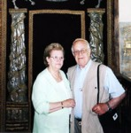 Hildegard and Jacob Hennenberg pictured inside of the Arch at the Oswiecim Synagogue.