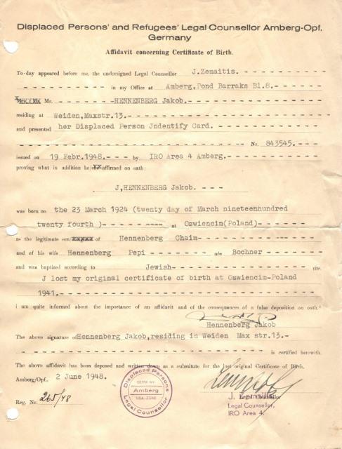 1948 Affidavit of Birth Germany 19 Feb 1948