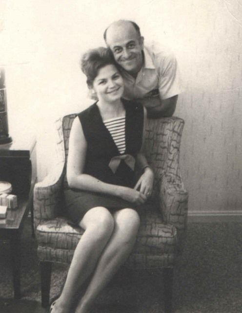 1960c Jacob and Hildegard Hennenberg. after Jacob's stomach operation in the living room of mayfield rd apt