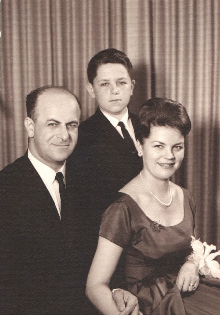 1961 Jacob and Hildegard Hennenberg pictured with their son Michael C. Hennenberg at his Bar Mitzvah