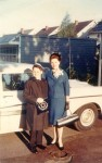 1961 Michael and Hilde in front of their Ford in Tullimore driveway just before his Bar Mitzvah