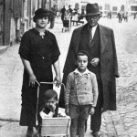 late 1930s. Mabel and Samuel Bochner with their children, Lolek (Michael) in buggy, and Eliezar.