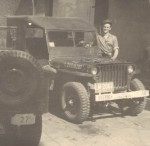 c 1946 unra truck 8 Jacob in front of Jeep he used to drive Roy C King, UNRRA distribution officer around in Weiden
