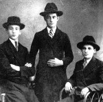 1928, Oswiecim. Cousin Kuba Korngold, son of Jacob's maternal aunt (in the middle) with his friends.