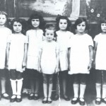 girls from Oswiecim Ida Piller at Left and sister Sima Piller 5 from left