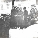 Oswiecim town square, c.1937.  Swearing in of Jewish soldiers into the Polish Army as preparation for impending War.  Vice-mayor, Naftali Bochner, Jacob's maternal grandfather, is pictured on stage at right in the white beard.