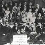 Group of people from Oswiecim preparing to go to Palestine in 1930s.  Uncle Shmuel Bochner and his wife are pictured in the middle, 3rd row from top.  They had 2 sons, Eliezer and Michael who live in Israel today.