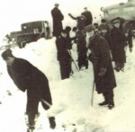 Autobahn between Breslau and Klettendorf, 1942.  While incarcerated in Klettendorf Forced Labor Camp, Jacob was forced to shovel snow on the highway.  Jacob traded his only possession, a camel-hair blanket, in return for the promise that the German policeman would take this photo and send it to his sister Karola in the Chrzanow Ghetto.  The picture survived with Karola throughout the War and was returned to Jacob when they were reunited.  Jacob and Karola were the only members of their immediate family to survive.