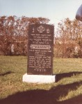 Henoch Hennenberg stone once it was moved to Clifton, NJ. Photo taken in 1981.